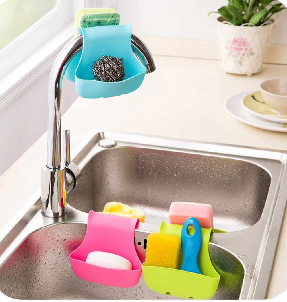 Drain basket kitchen double sink caddy saddle storage bag storage sponge rack shelf tool L0731