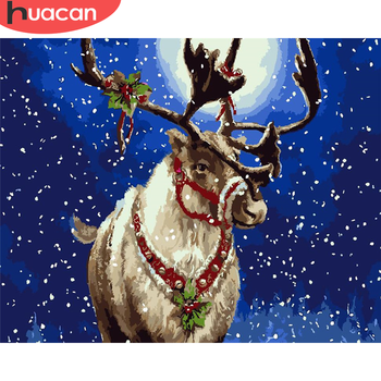 HUACAN Picture By Numbers Christmas Drawing On Canvas DIY Painting By Number Animal Gift Hand Painted Paintings Deer Home Decor