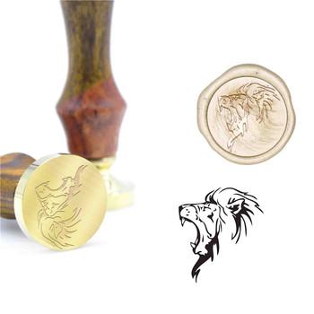 Lew zwierząt wzór pieczęć woskowa prezent pieczęć B14 wosk na zamówienie pieczęć początkowa pieczęć drewna uchwyt DIY pieczęć Retro tanie i dobre opinie CN (pochodzenie) Metal Sealing Wax Stamps