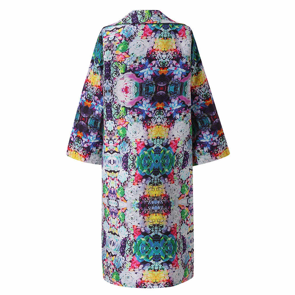 2019 Mulheres Outono Inverno Do Vintage Impressão Bordado Fino Plus Size Cardigan casaco Longo casaco de Trincheira Estilo Nacional Chinesa Outerwear # J30