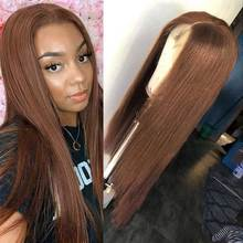 #4 Colored 30 Inch Straight Lace Front Wig Transparent Lace Wigs T Part Chocolate Brown Bone Straight Lace Front Human Hair Wigs