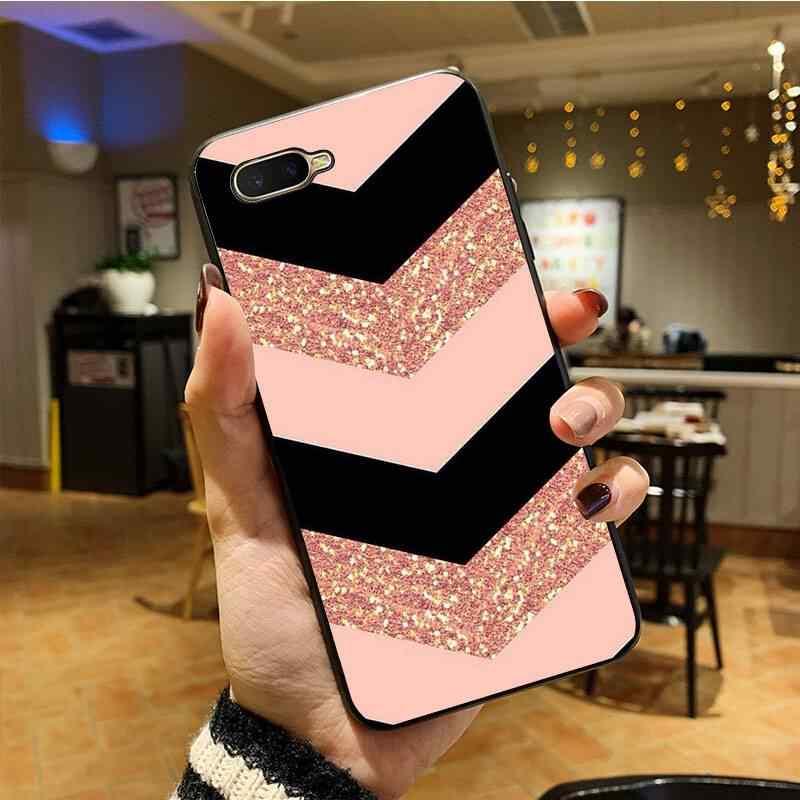 Ouro rosa brilho diy impressão desenho telefone caso capa escudo para oppo f7 f5 f9 k1 a77 f3 reno f11 11pro a11x capa