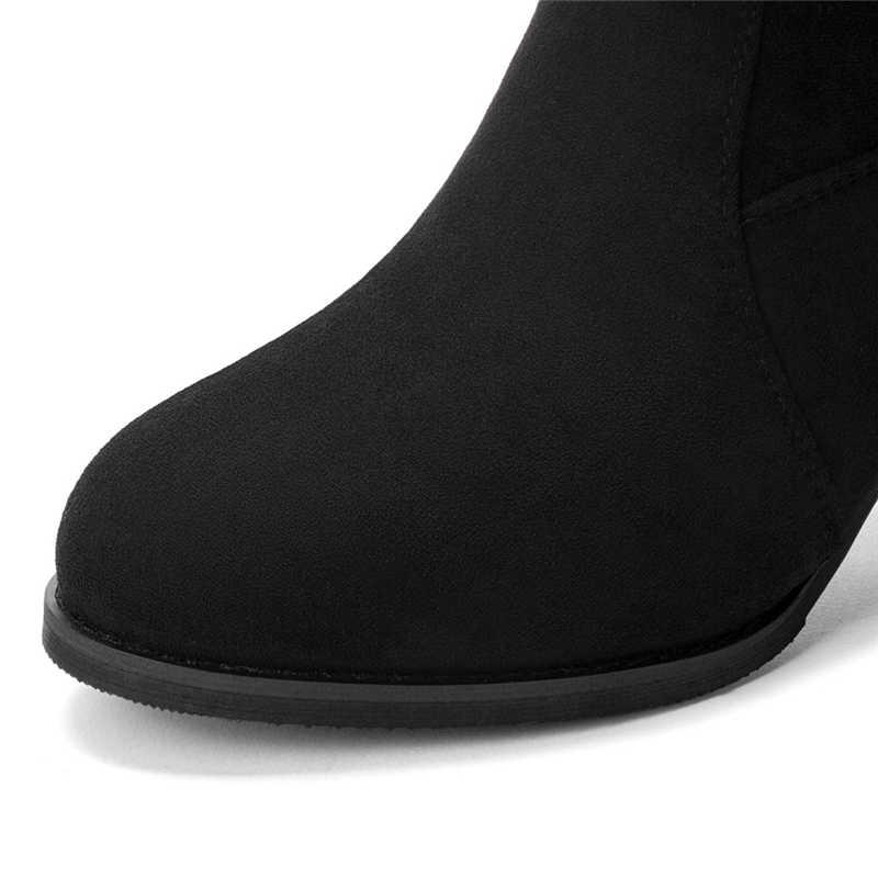 Çizmeler Kadın Retro Klasik Kare Topuk Akın Fermuar Uzun Çizmeler Para Mujer Kış Artı Boyutu Diz Yüksek kadın çizmeler Siyah #5