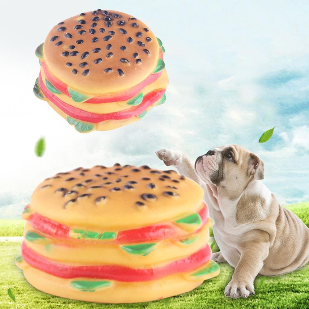 1pcs Hamburger Shape Fake Pet Puppy Food Dog Toy Interactive Voice Sound Bite Chew Cat Squeaky Squeaker