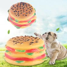 1pcs Hamburger Shape Fake Pet Puppy Food Dog Toy Interactive Voice Sound Bite Chew Cat Squeaky Squeaker