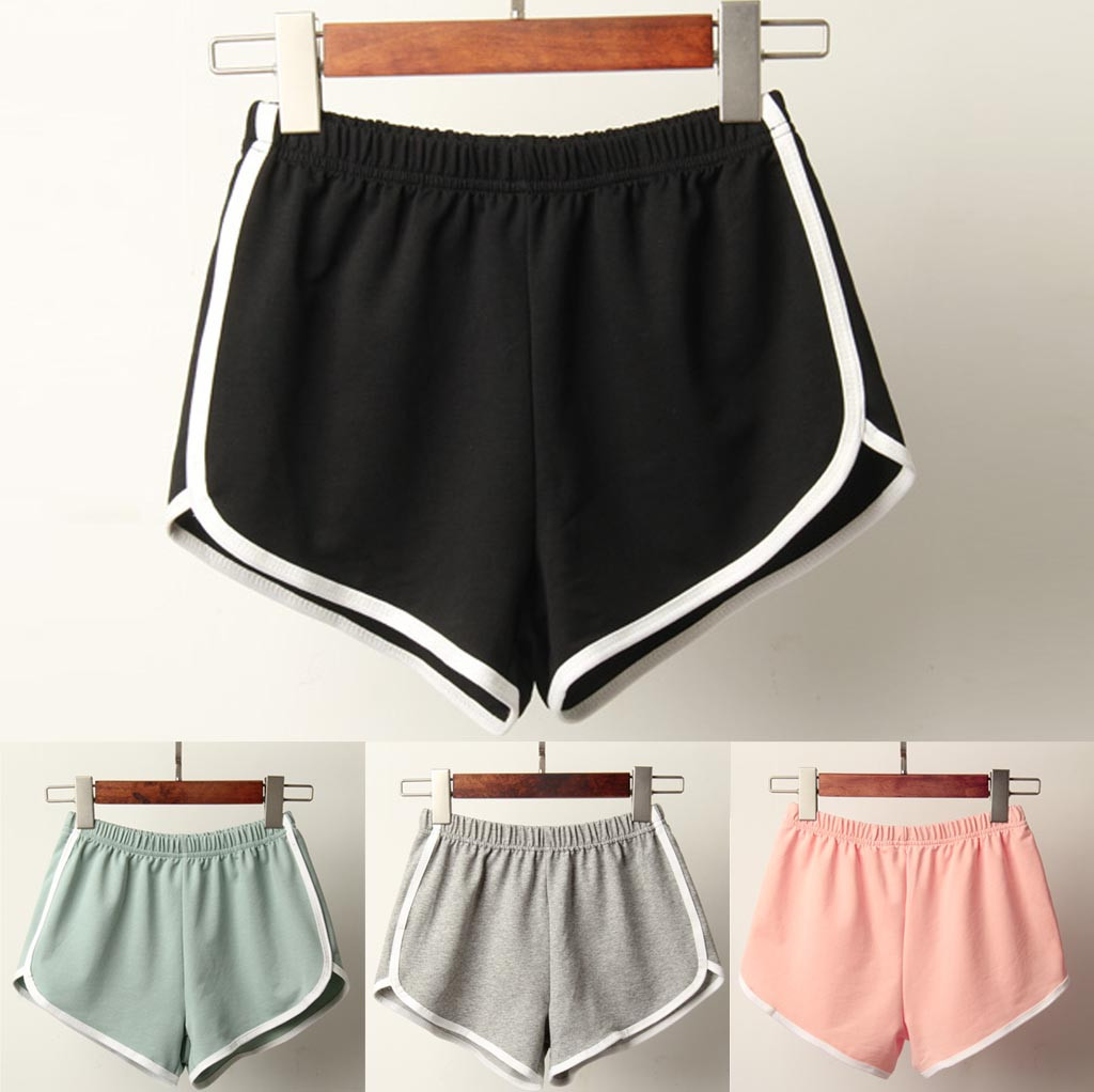Sports Shorts Women Summer 2019 New Candy Color Fashion Skinny Shorts Casual Lady Elastic Waist Beach Correndo Short Pants 1