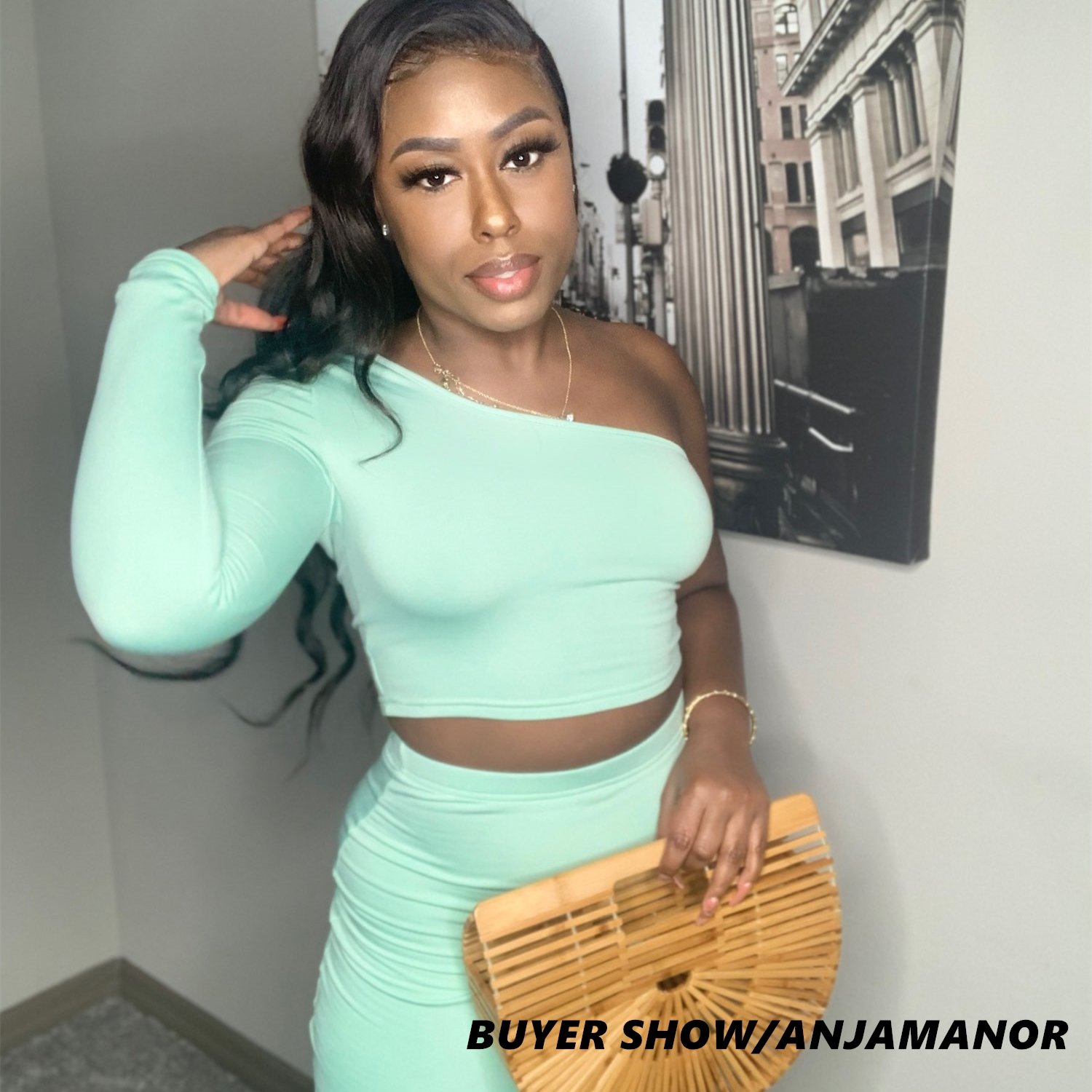 ANJAMANOR 2 Piece Set Skirt and One Shoulder Long Sleeve Crop Top Fall Clothes for Women 2020 Fashion Sexy Club Outfits D70-BD21 2
