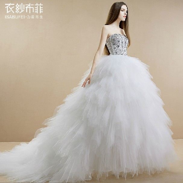 Free Shipping Ball Gown Robe De Soiree 2016 New Hot Casamento Long Vestido De Noiva Bandage Crystal Wedding Dresses Bridal Gown