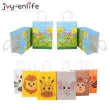 12 шт джунгли сафари животные бумажные подарочные пакеты конфеты сумки коробка День рождения украшения Дети душ упаковка мешок Джунгли Тема