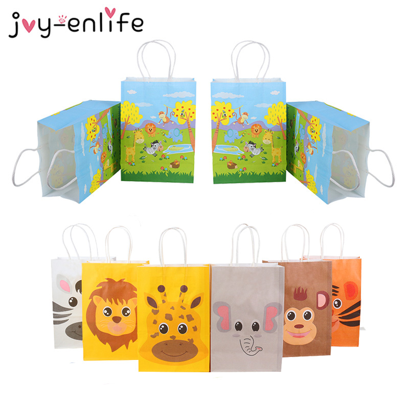 12pcs Jungle Safari Animals Paper Gift Bags Candy Bags Box Birthday Party Decorations Kids Baby Shower Packing Bag Jungle Theme