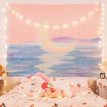 Anime tapestry Moon bay psychedelic pink dorm room decor macrame wall hanging tapastry kawaii tapestrys rainbow trippy plush new
