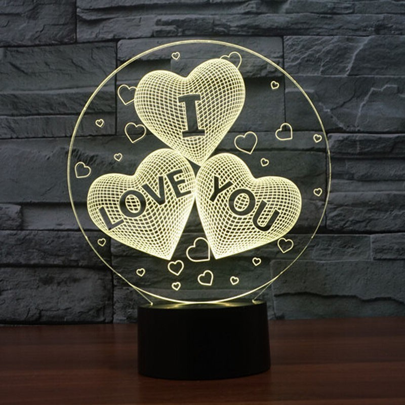 Valentines Day Gift I LOVE YOU Colorful 3D Hologram Love Heart Stars Lamp USB Acrylic Lights Party Favor Best Girlfriend Gift
