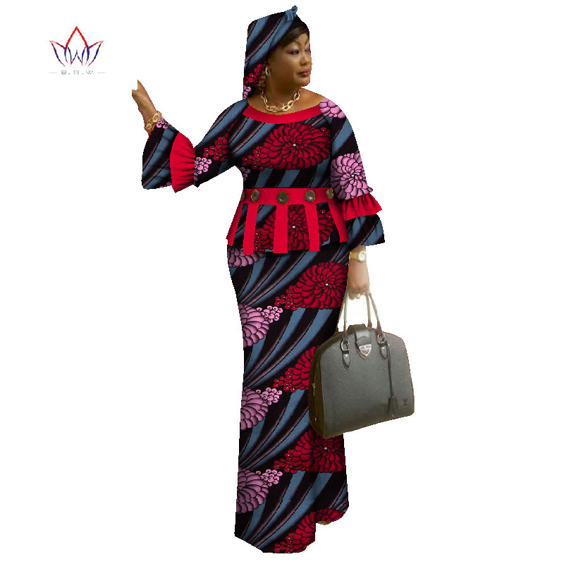 African Skirt For Women O-neck African Print Clothing For Women Cotton Skirt Set Full Sleeve African Clothing Traditional WY1096