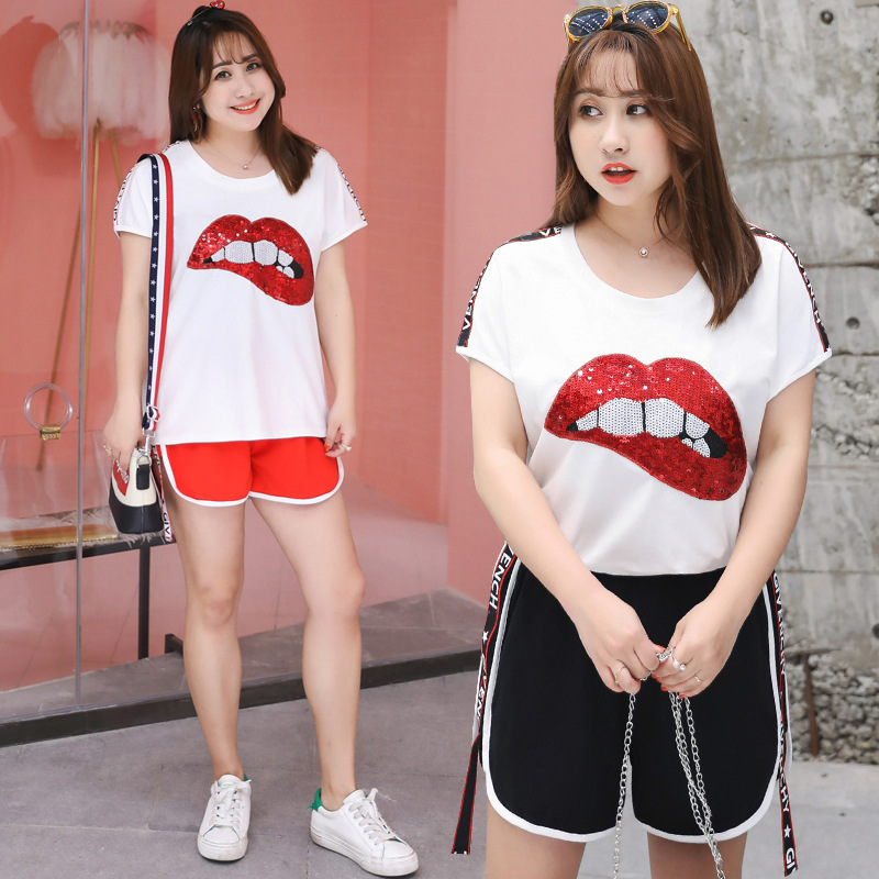 2019 Summer New Style Large Size Dress-Style Two-Piece Sexy Red Lips Sports Set Fat Mm Dress 6538