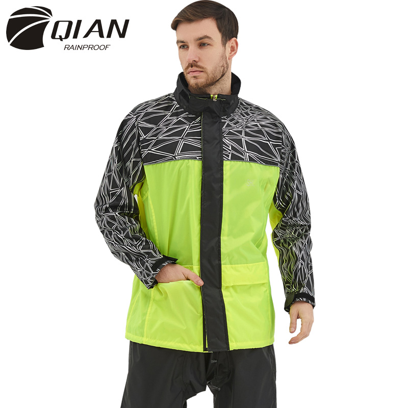 QIAN Raincoat Suit Impermeable Women/Men Hooded Motorcycle Poncho Rain Coat Motorcycle Rainwear S-4XL Hiking Fishing Rain Gear