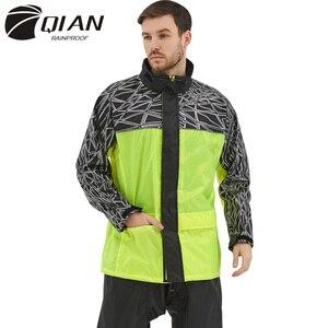 Image 1 - Qian capa de chuva terno impermeável das mulheres/homens com capuz motocicleta poncho capa de chuva motocicleta rainwear S 4XL caminhadas pesca chuva engrenagem