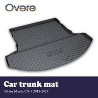 Overe 1 set 자동차화물 후방 트렁크 매트 for mazda CX-9 2018 2019 방수 카펫 미끄럼 방지 매트 부팅 라이너 트레이 자동차 액세서리