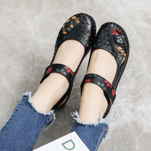 Image 2 - 2020 Summer Lady Genuine Leather Shoes Women Flower Printing Soft Sole Hollow Flat Shoes Slip on Loafers for Women Vintage Flats