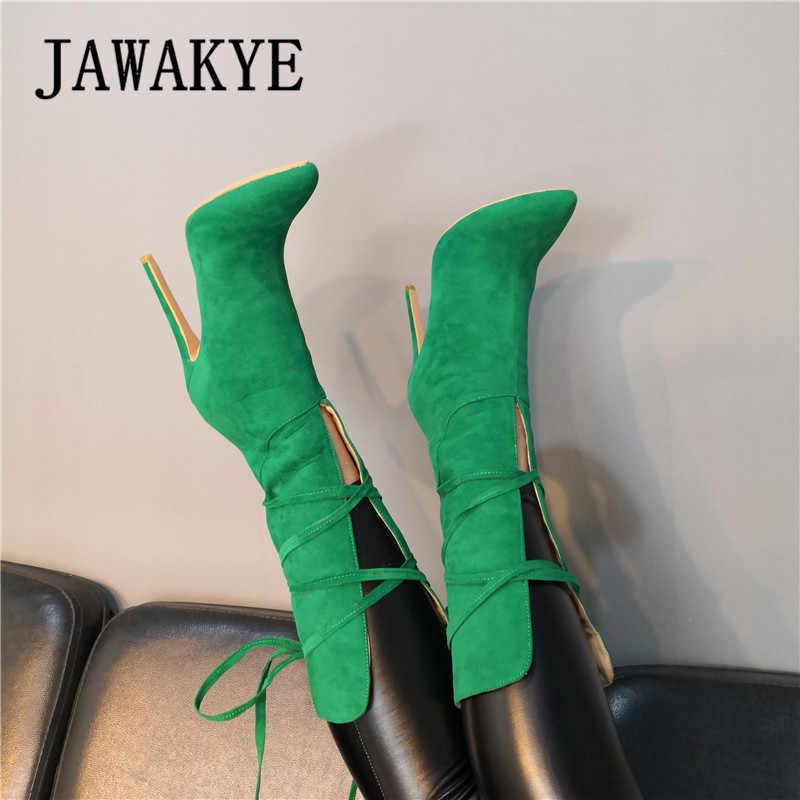 Süet deri yeşil orta buzağı uzun çizmeler yüksek topuk sivri burun geri dantel ayakkabı bohem botları kadın zarif ayakkabılar kış yeni çizme