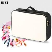 Travel make up bag Leather Clapboard Cosmetic Bag Professional Make Up Box Large Capacity Storage Handbag Travel Insert Toiletry