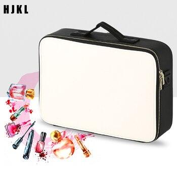 Travel make-up bag Leather Clapboard Cosmetic Bag Travel Insert ToiletryProfessional Make Up Box Large Capacity Storage Handbag