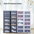 Xm plástico pp translúcido caixa de sapato multifuncional casa à prova de poeira gaveta combinação caixas de armazenamento masculino/feminino sapatos organizador