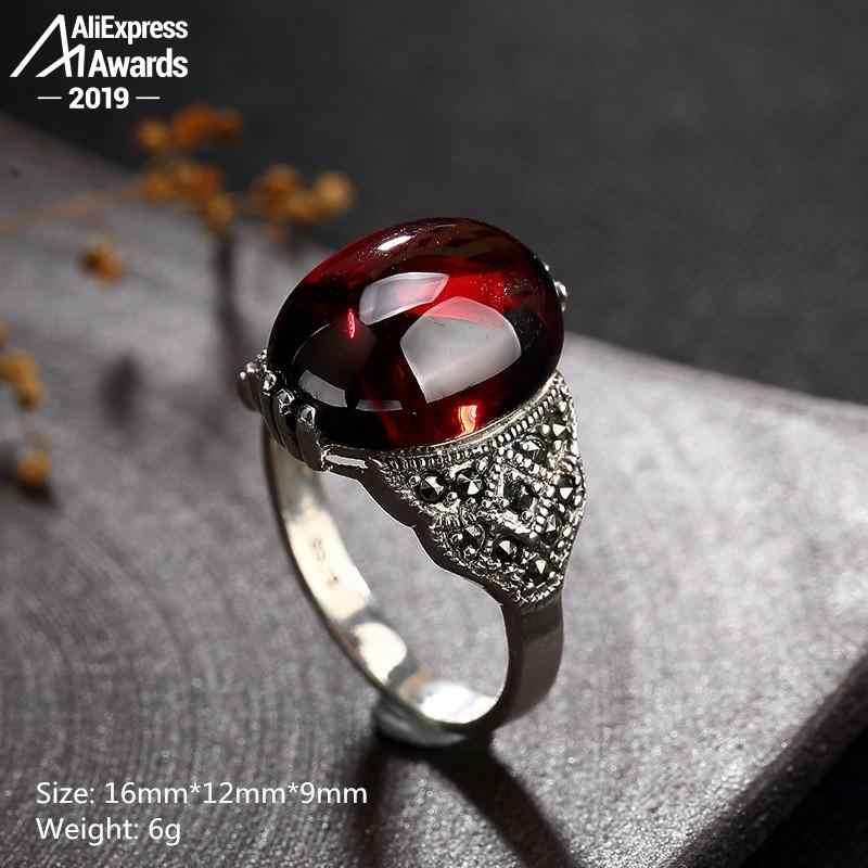 ไม่ปลอม S925 Fine Antique Shop แหวนทับทิมรูปไข่ที่ไม่ซ้ำกันผู้หญิง Handmade VINTAGE Carnelian ธรรมชาติย้อนยุคทับทิมสีแดง Jasper Agate