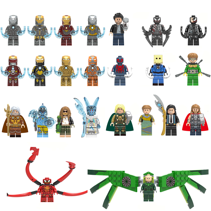 Super Heroes Single Sale Building Block Figures IRON MAN SPIDERMAN RIOT Bricks Toys For Children Compatible With LEgOINGs