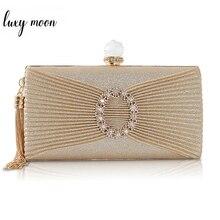 Lüks altın el çantası kadın el çantası bayan omuzdan askili çanta kristal akşam çanta düğün manşonlar çanta parti püskül çanta ZD1395
