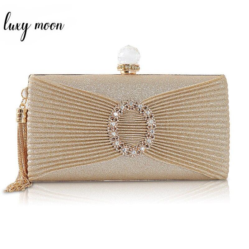 Luxury Gold Clutch Bag Women Hand Bag Lady's Shoulder Bag Crystal Evening Bags Wedding Clutches Purse Party Tassel Bag ZD1395
