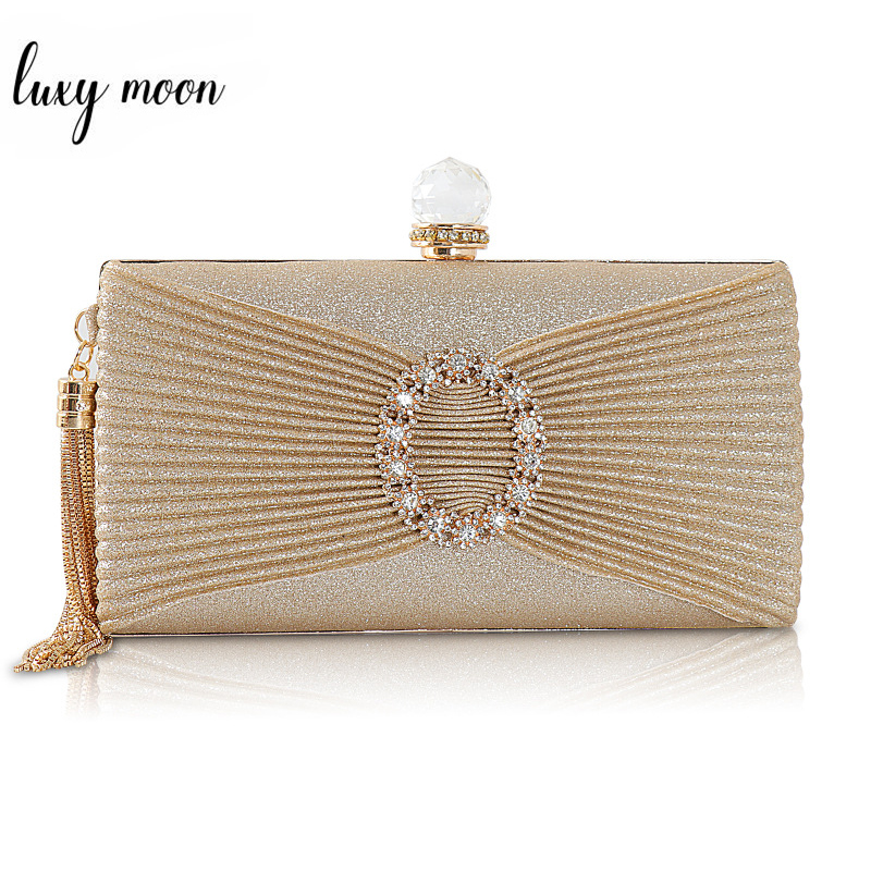 Luxury Gold Clutch Purse Women Hand Bag Lady's Shoulder Bag Crystal Evening Bags Wedding Clutches Women Party Tassel Bag ZD1395