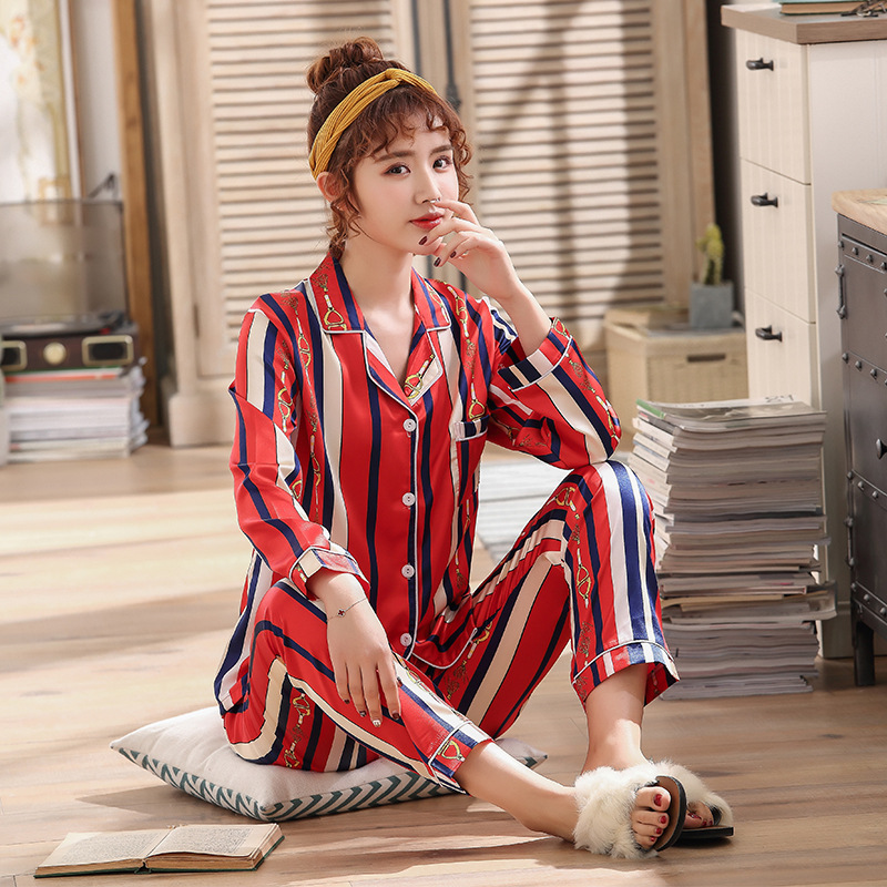 2019 Spring And Autumn Long-sleeved Cardigan Pajamas Two-Piece Set Stripes Women's Loose-Fit Fold-down Collar Model Silk Home We