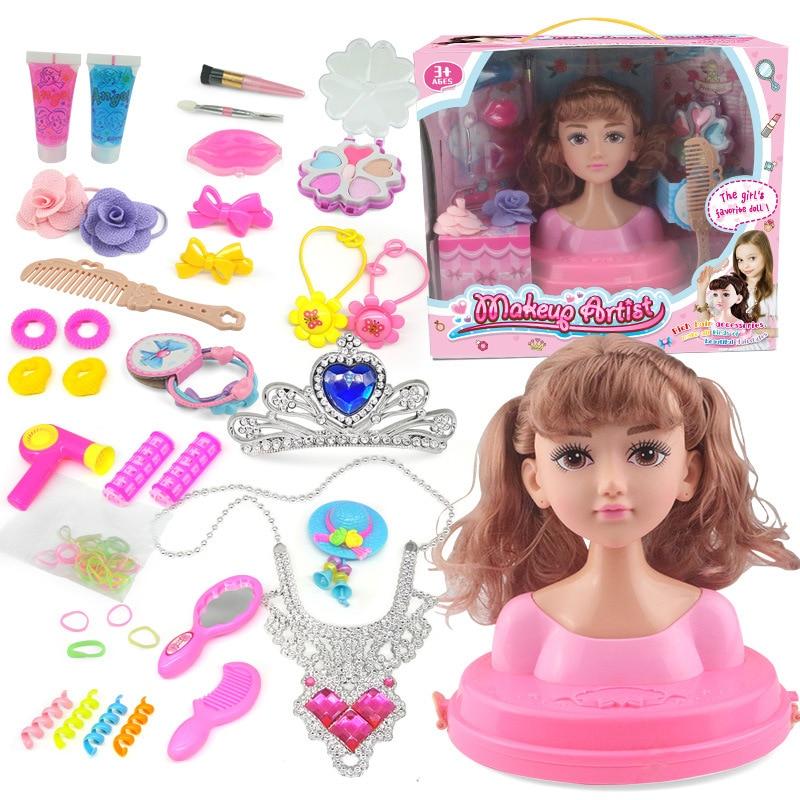 Kids Dolls Half Body Makeup Comb Hair Toy Doll Set Pretend Play Princess