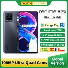 Em estoque realme 8 pro versão global smartphone 8gb 128gb 6.4 screen 108tela 108mp ultra quad câmera snapdragon 720g 4500mah 50w nfc