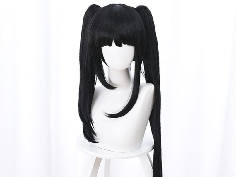DATE A LIVE Tokisaki Kurumi Cosplay Wigs High-temperature Fiber Synthetic Hair Black Hair With Ponytails + Free Hair Net