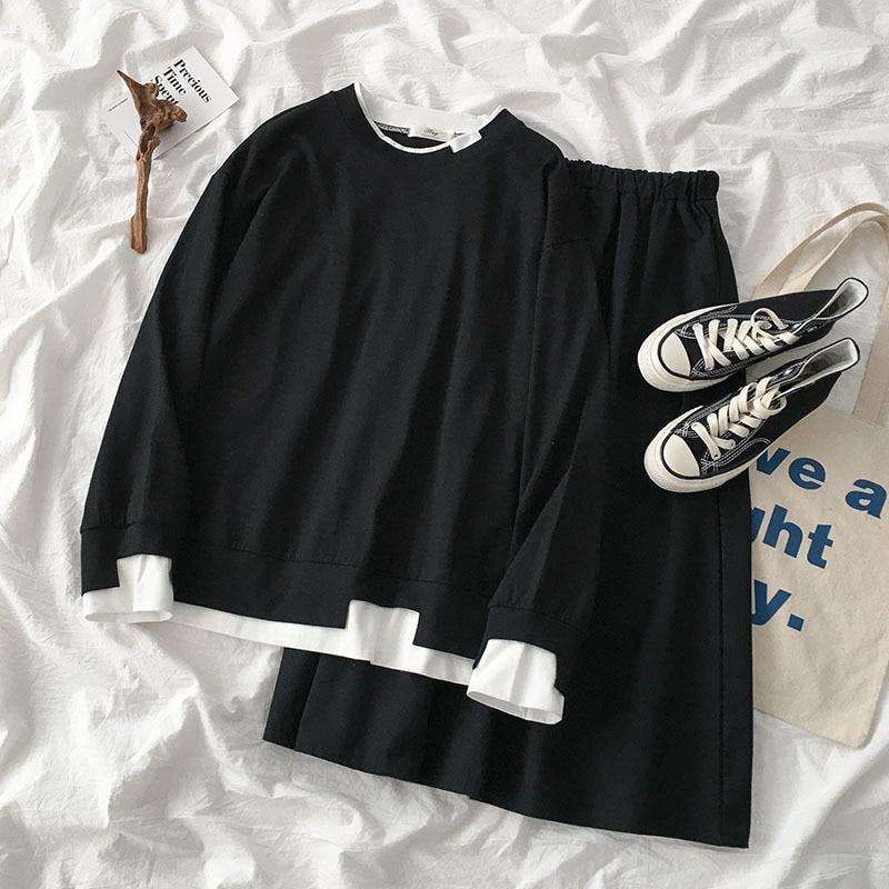 Spring Harajuku Casual Skirt Set Women Black Oversize Sweatshirt + High Waist A-line Maxi Skirt Matching Set Two Pieces Set
