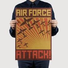 AIMEER vintage World War II Air Force Propaganda Poster Nostalgic Retro/Classic Kraft Paper Decor Painting Wall Stickers 51x36cm