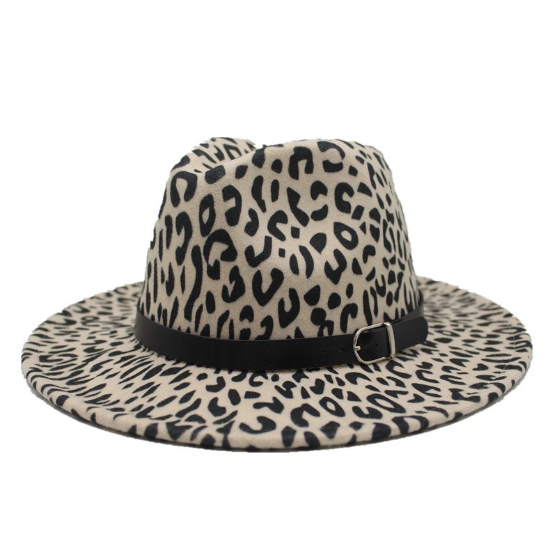 2019 new Trend Unisex Flat Brim Wool Felt Jazz Fedora Hats Men Women Leopard Grain Leather Band Decor Trilby Panama Formal Hats 2