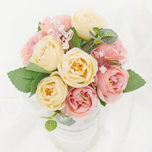 New silk rose artificial flowers for home decoration in balcony beautiful roses bouquet fake flowers wedding party arrangement(China)