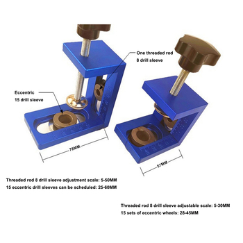 Punch locator 2-in-1 3-in-1 8/15mm drill bit pocket hole fixture position tool adjustable Locator Wood Drilling Woodworking Tool