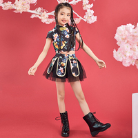 2019 New Jazz Stage Costume Kids Chinese Style Printed Cheongsam Dress Girls Hip Hop Street Dancing Dancer Party Outfit Child