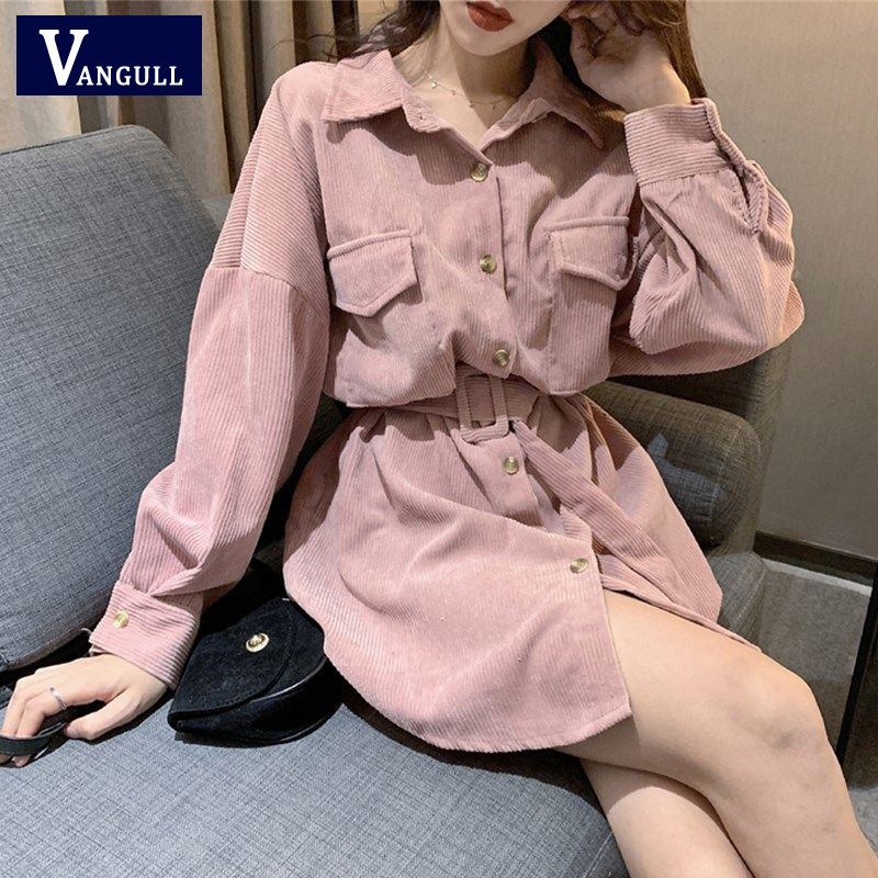 Vangull Women Long Shirt Sash Corduroy High Street Female Loose Ivory Pink Solid Turn Down Collar Long Sleeve Full Sleeve Tops