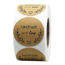 Крафт круглый ручной работы с любовью скрапбукинг этикетки наклейки упаковка канцелярские наклейки 1 дюйм 500 этикеток/рулон натуральный
