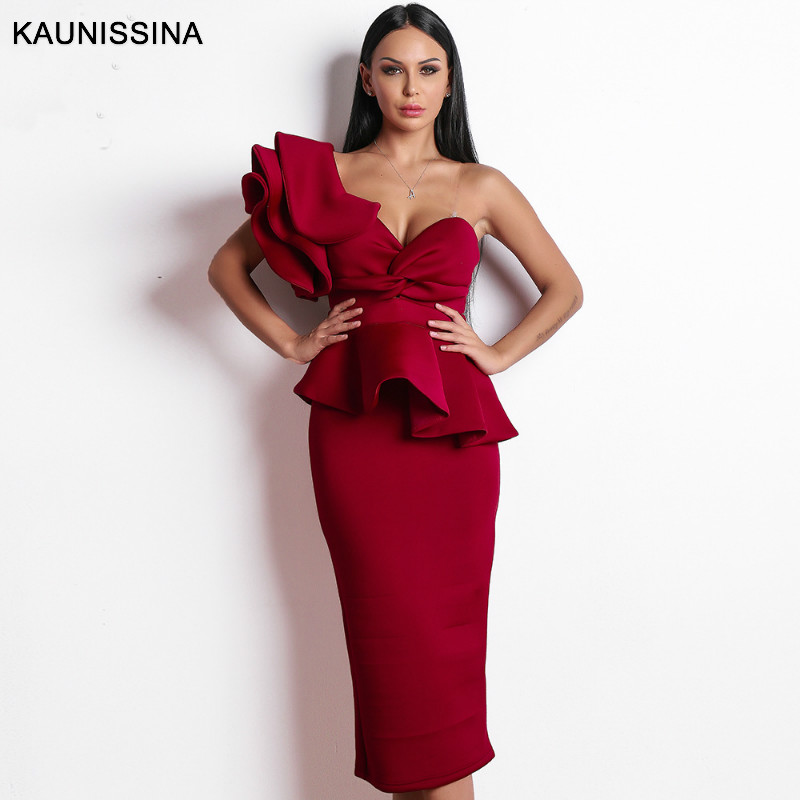 KAUNISSINA Formal Party Ruffle Cocktail Bodycon Dress Sexy One Shoulder Solid Ladies Clubwear Vestidos Banquet Gown High Quality