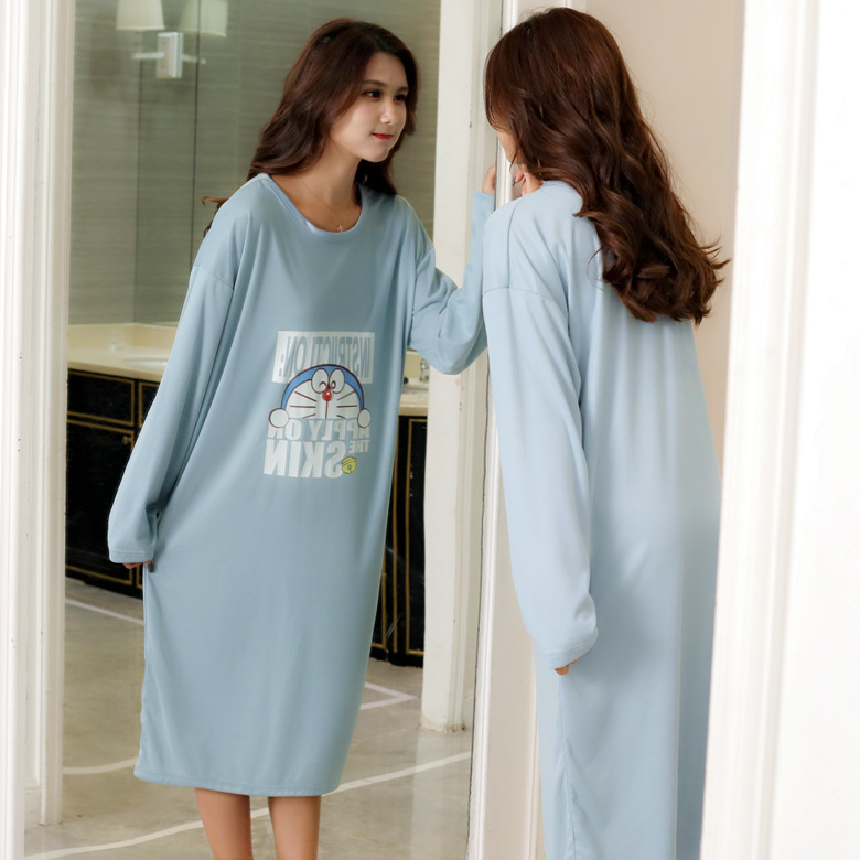 Nightgown Women's Long Sleeve Autumn & Winter Blue Letters Jingle Cats Skirt Long Sleeve M -Xxl Qmilch Double-Sided Thick