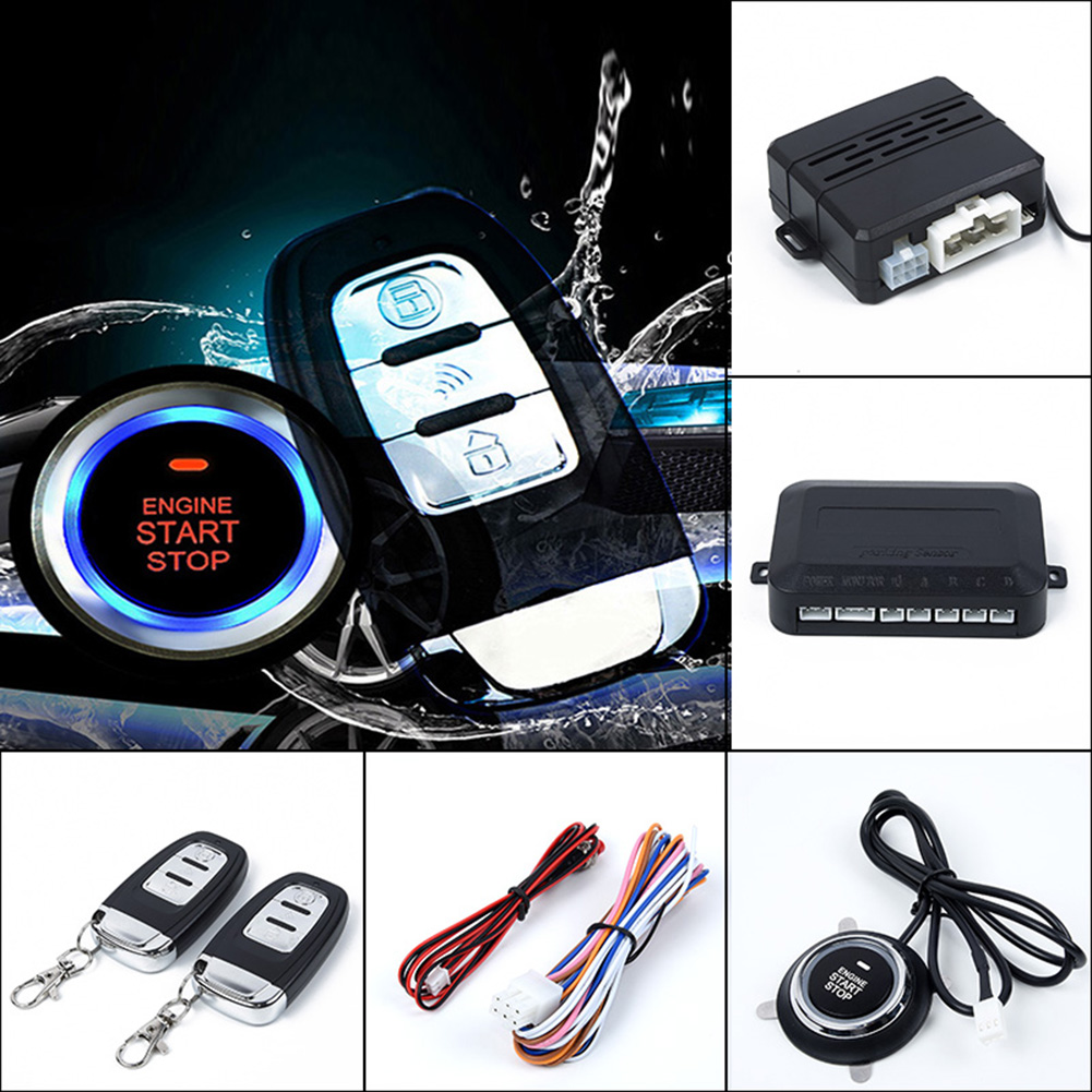 Car Accessories One Button Car Alarm Ignition Start Security System Key Engine Start Push Buttons Remotes Vibration Anti-theft