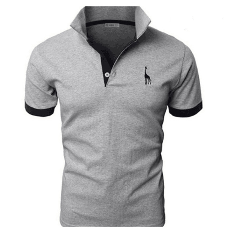 Men's Short Sleeve Polo Shirt Casual Fashion Deer Embroidery Cotton Polo Shirt Men Men's Clothing TJWLKJ
