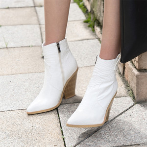 Image 4 - FEDONAS Winter Female Plus Size Chunky Heels Party Night Club Shoes Woman Brand Women Leather Ankle Boots Classic Western Boots
