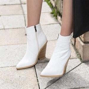 Image 4 - FEDONAS חורף נקבה בתוספת גודל שמנמן עקבים מסיבת לילה מועדון נעלי אישה מותג נשים עור קרסול מגפי קלאסי מערבי מגפיים