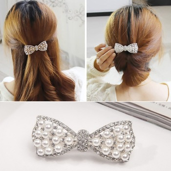1Pc Best Gifts Women Girls Fashion Elgant Crystal Bow Hair Clip party vaction Hairpin Barrette Pearl Hair Accessories Hot ubuhle fashion women full pearl hair clip girls hair barrette hairpin hair elegant design sweet hair jewelry accessories 2019